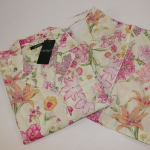NWT RALPH LAUREN Yellow Floral Pajama Short Set